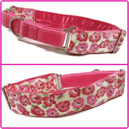 Pink Poppies Half Martingale Collar