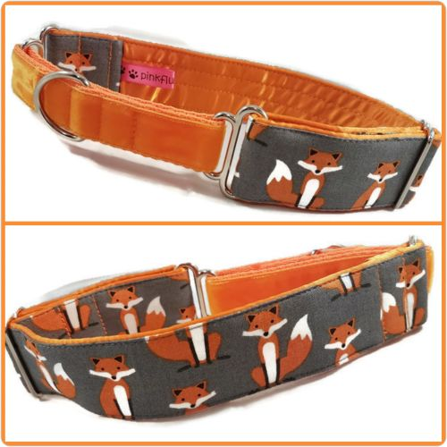 Grey Fabulous Foxes Half Martingale Collar