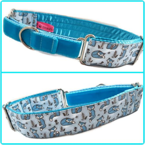 Blue Mini Sleepy Foxes Half Martingale Collar