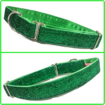 "1"" Emerald Glitter Velvet House/ Tag Collar"