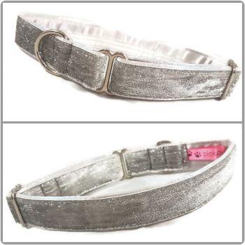 """1"""" Silver Glitter Velvet House/ Tag Collar"""