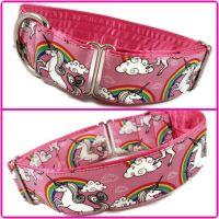 "1.5"" Pink Unicorns & Rainbows House/Tag Collar"