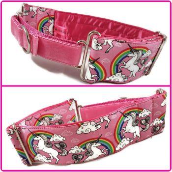 "2""  Pink Unicorns & Rainbows Half Martingale Collar"