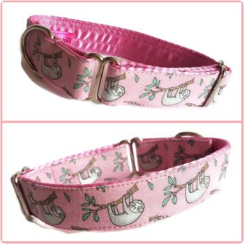 "1"" Pink Sloths Whippet House Collar"