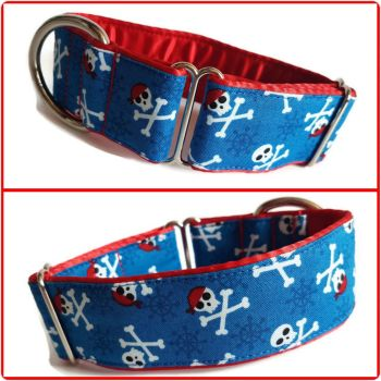 "1.5"" Blue Pirates Whippet House Collar"