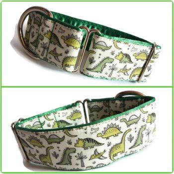 "1.5"" Green Dinosaurs Whippet House Collar"