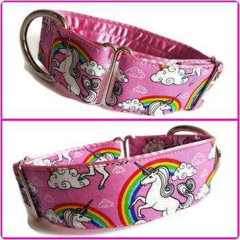 "1.5"" Pink Unicorns & Rainbows Whippet House Collar"