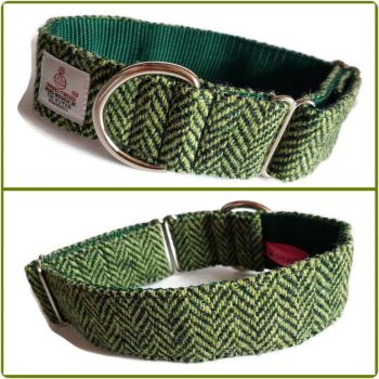 "1.5"" Green Chevrons Harris Tweed House Collar"