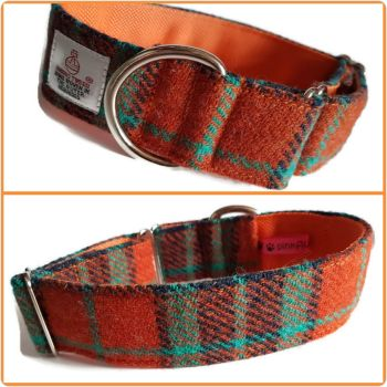 "1.5"" Turquoise and Orange Check Harris Tweed House Collar"