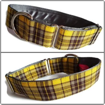 "1.5"" Yellow and Grey Tartan House/Tag Collar"