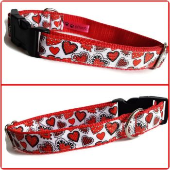 """1"""" Red Patchwork Hearts Clip Dog Collar"""