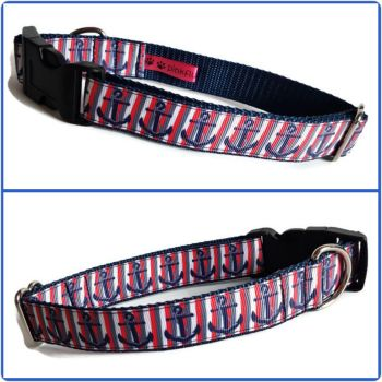 "1"" Anchor Stripes Clip Dog Collar"