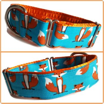 "1.5"" Blue Fabulous Foxes Whippet House Collar"