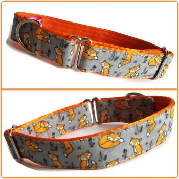 "1"" Orange Sleepy Foxes Whippet House Collar"