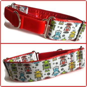"1.5"" Robots Whippet Half Martingale Collar"