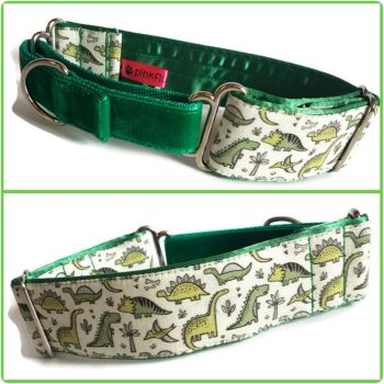 "1.5"" Green Dinos Whippet Half Martingale Collar"