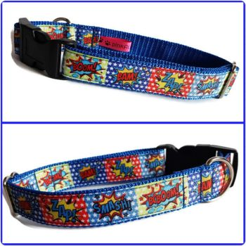 "1"" Superhero Stars Clip Dog Collar"