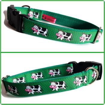 "1"" Cows Clip Dog Collar"