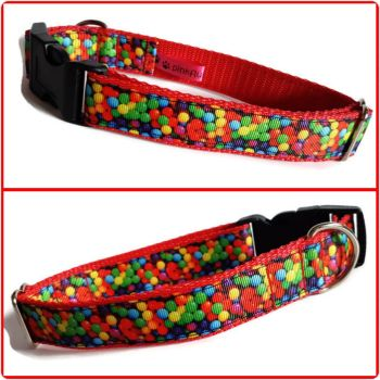 "1"" Colourful Balls Clip Dog Collar"