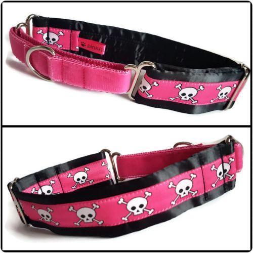 Pink Skulls Jacquard Half Martingale Collar