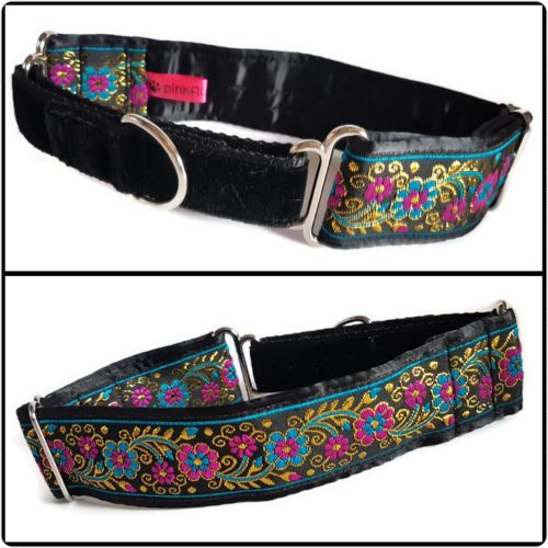 Pink, Blue and Gold Floral Jacquard Half Martingale Collar