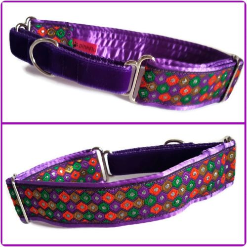 Purple Hexagons Jacquard Half Martingale Collar