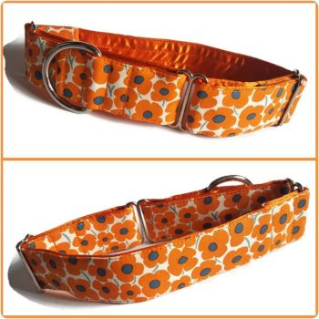 Orange Pop Flowers Martingale Collar