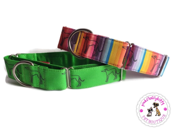 "1.5"" GT Hall Green Homer Satin Lined Martingale Collars **Made to Order**"