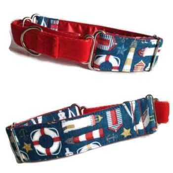 "1.5"" Ahoy Nautical Whippet Half Martingale Collar"