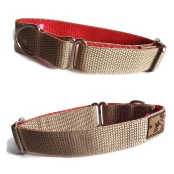 "1"" Double Webbing Beige/ Red Whippet House Collar"