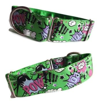 "1.5"" Green Pow Whippet House Collar"