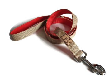 4ft Beige/ Red Double Webbing Lead