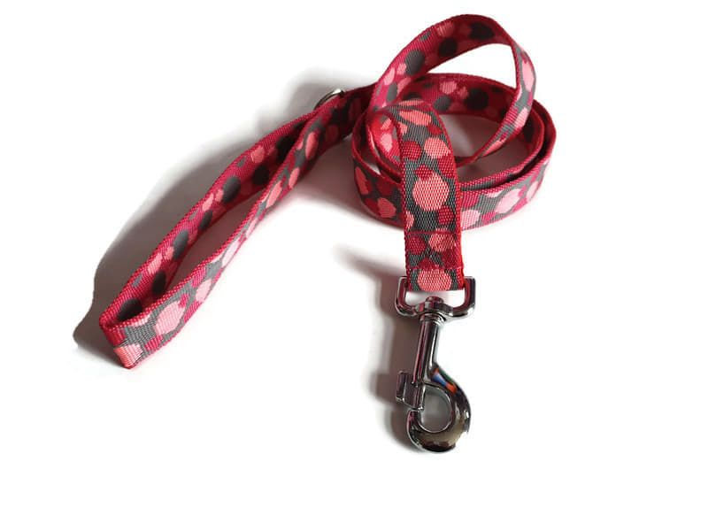 4ft Pink Spots Cushion Dog Lead
