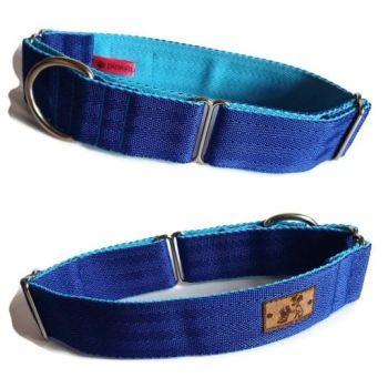 """1.5"""" Royal Blue/Turquoise Double Webbing Greyhound Martingale"""