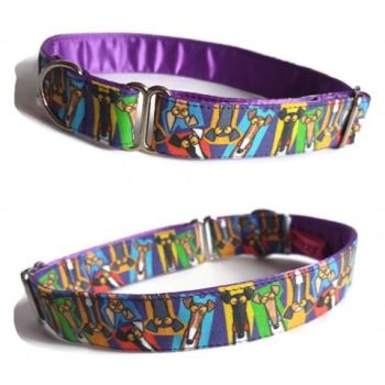 *NEW* Richard Skipworth 'Multicoloured Hound Heads' Fabric Collars  **Made to Order**