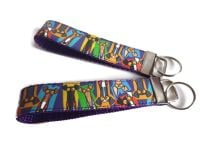 Richard Skipworth Multicoloured Hound Heads Fabric Keyfobs **Made to Order**