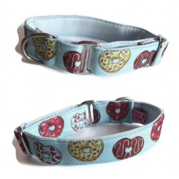"1"" Water Resistant Blue Donut Hearts Whippet House Collar"