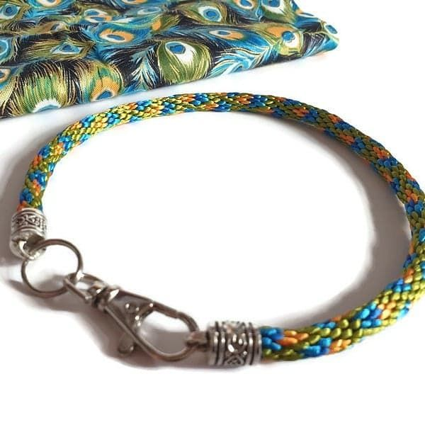 Create Your Own - Peacock Feathers Braided Tag Dog Collar