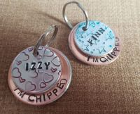 32mm decorative handstamped layered dog tag
