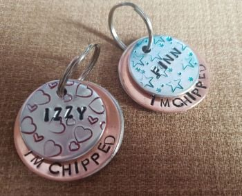 38mm decorative handstamped layered dog tag
