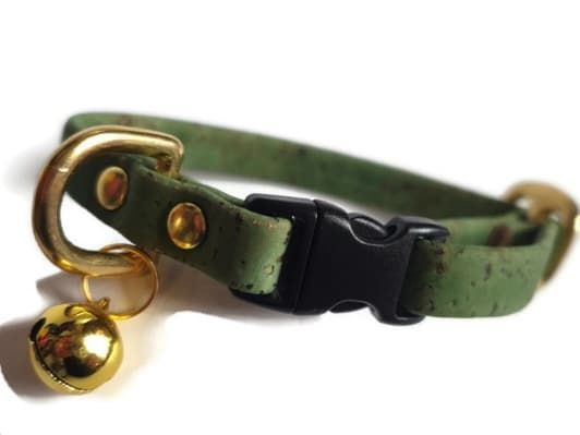 Green Cork Cat Collar