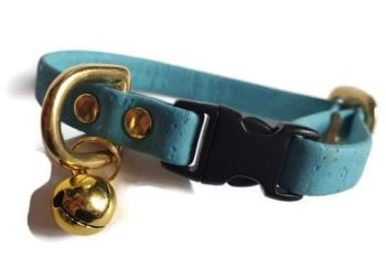Sky Blue Cork Cat Collar
