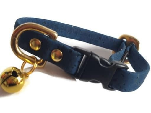 Navy Cork Cat Collar