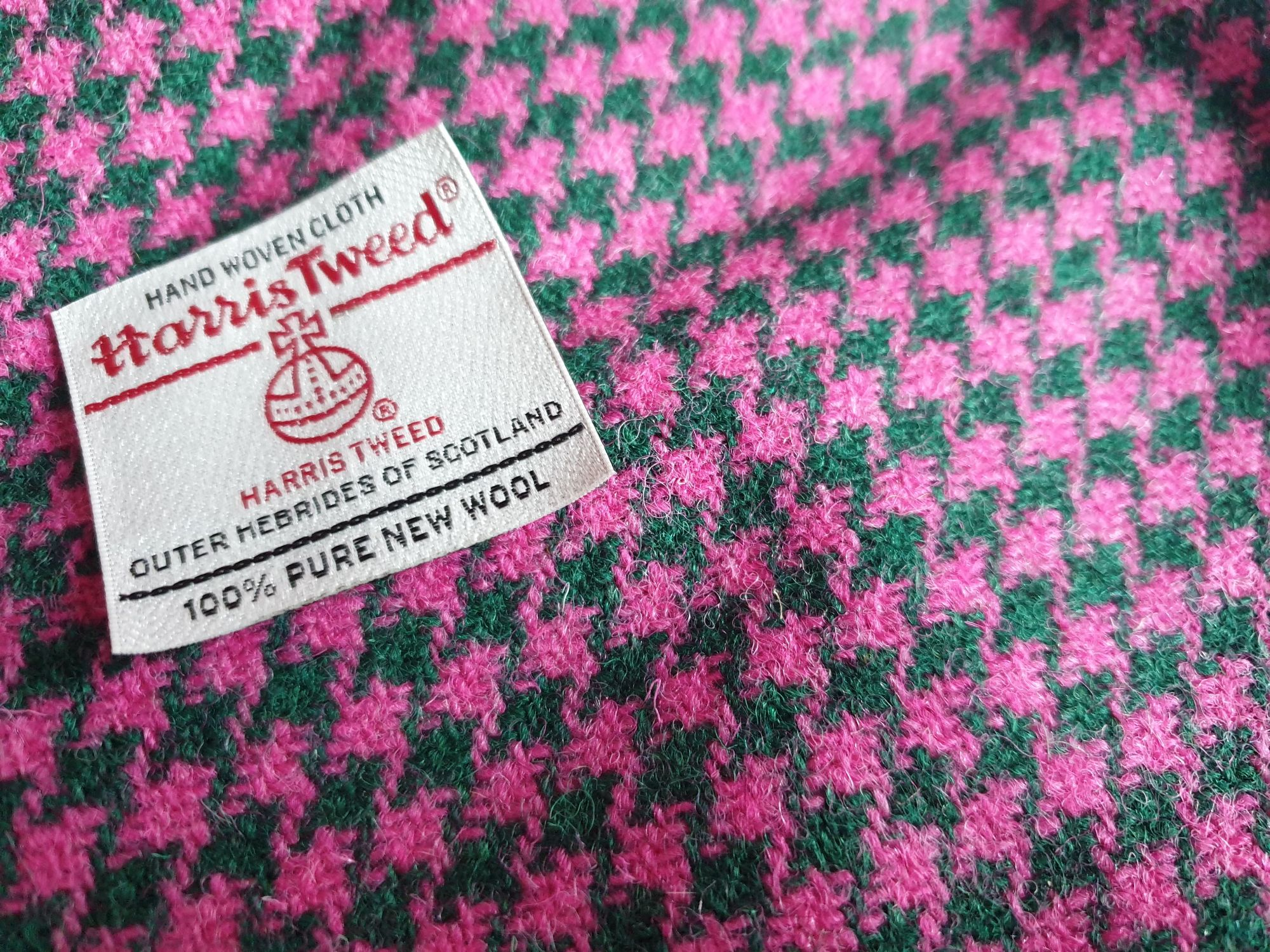 Cerise and Forest Houndstooth