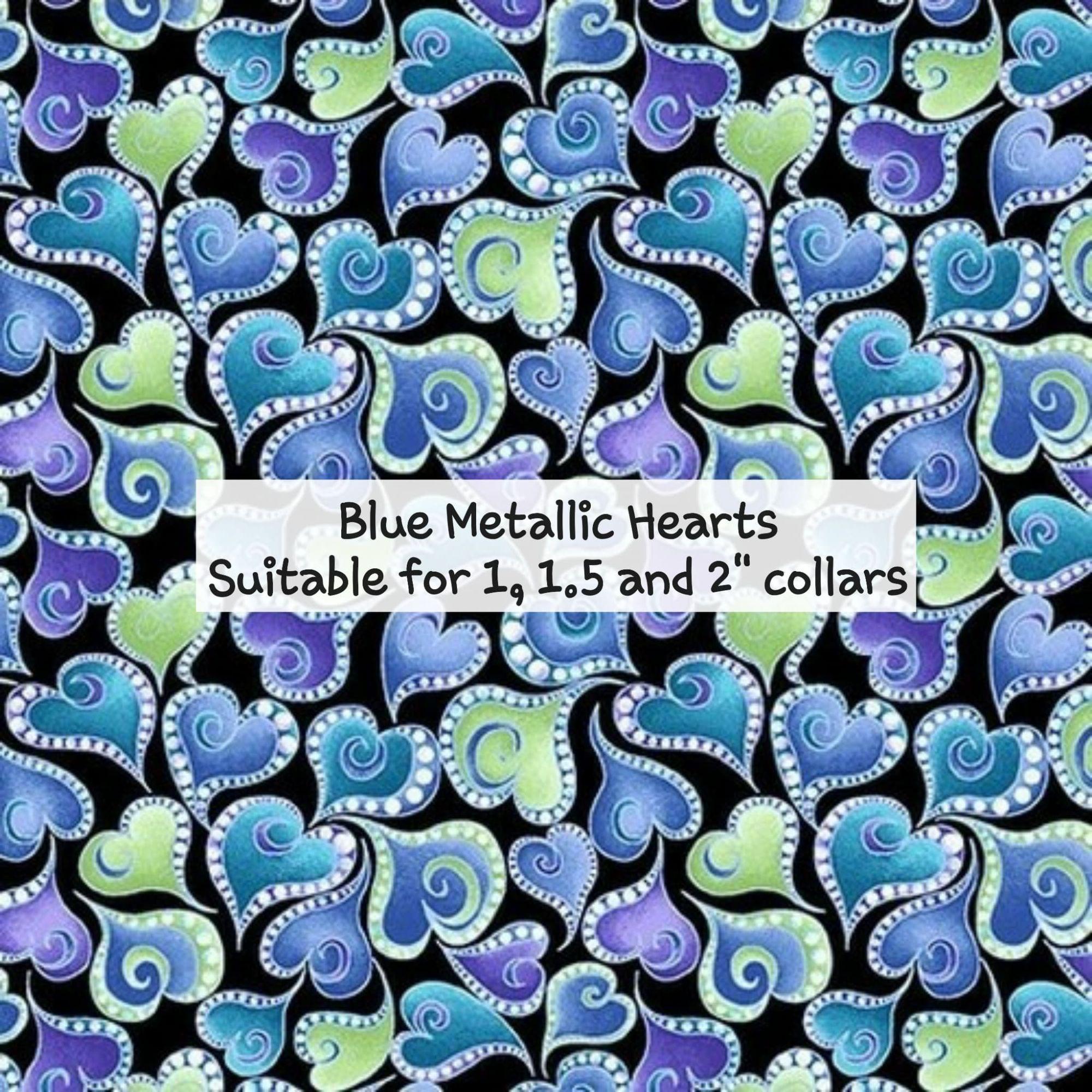 Blue Metallic Hearts