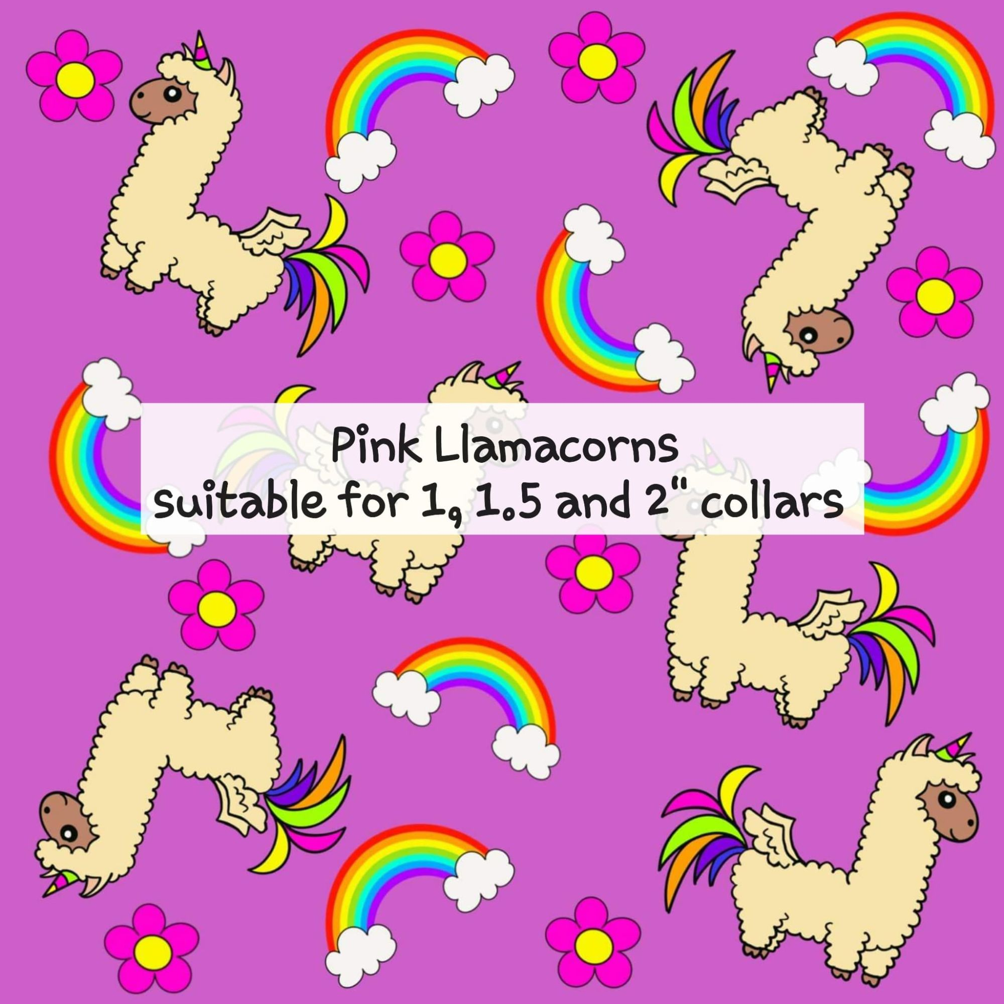 Pink Llamacorns - Suitable for 1, 1.5 and 2 inch collars