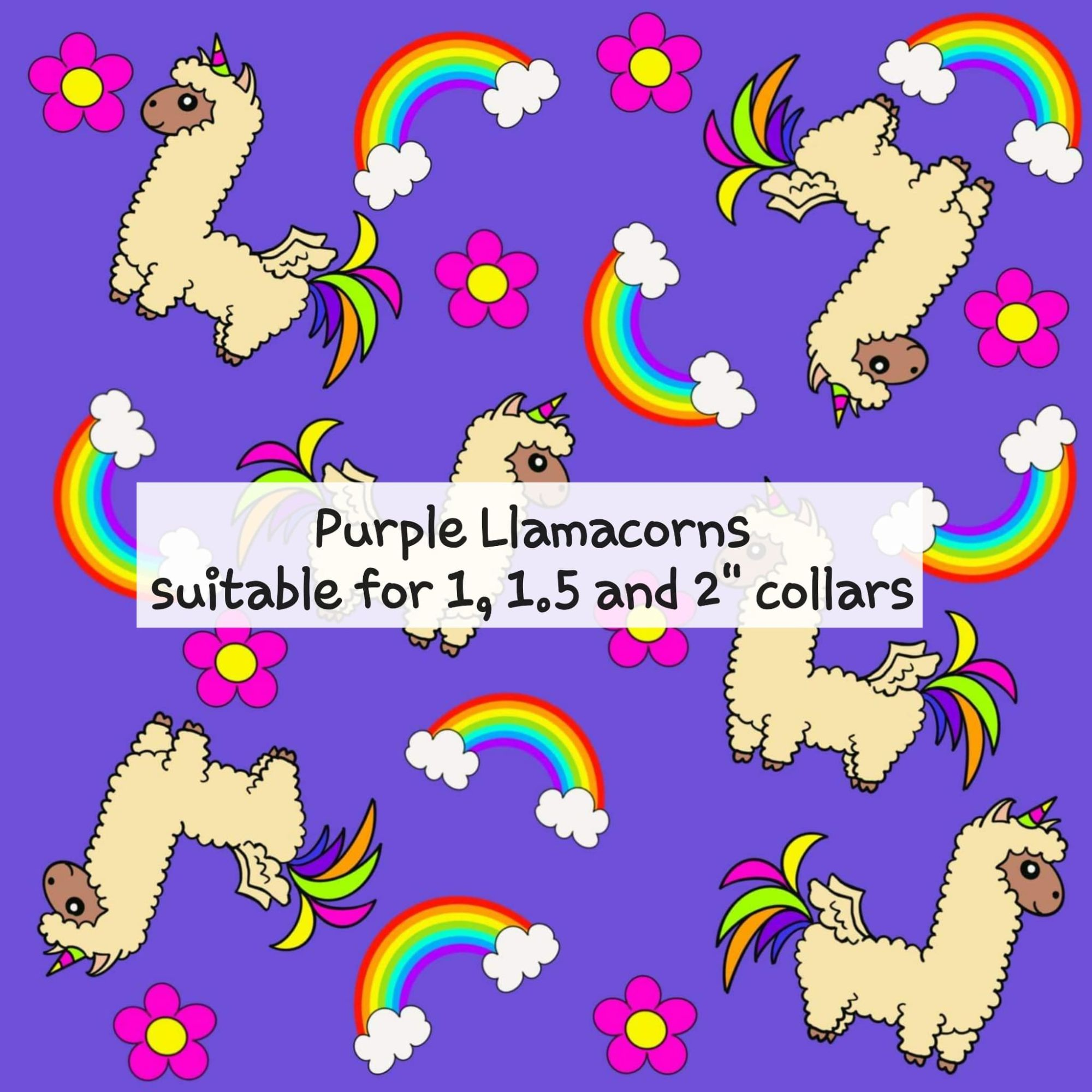 Purple Llamacorns - Suitable for 1, 1.5 and 2 inch collars