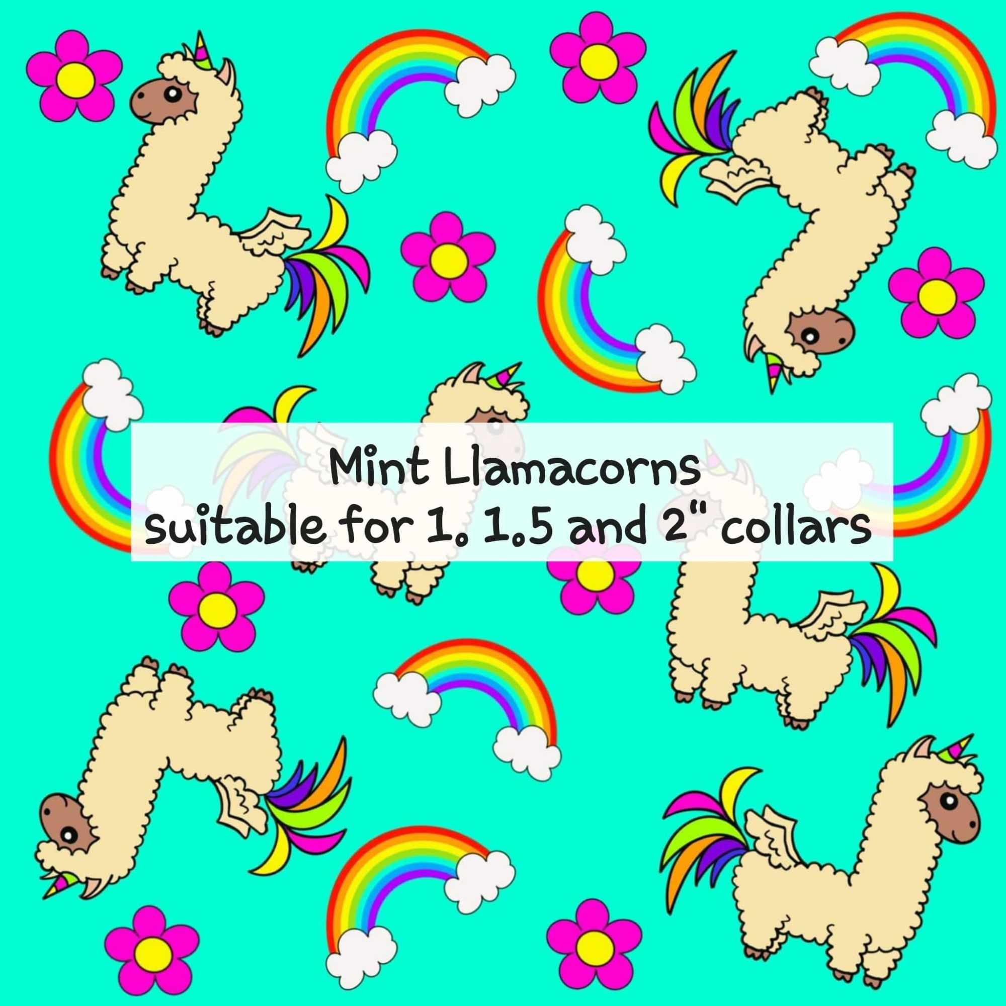 Mint Llamacorns - Suitable for 1, 1.5 and 2 inch collars