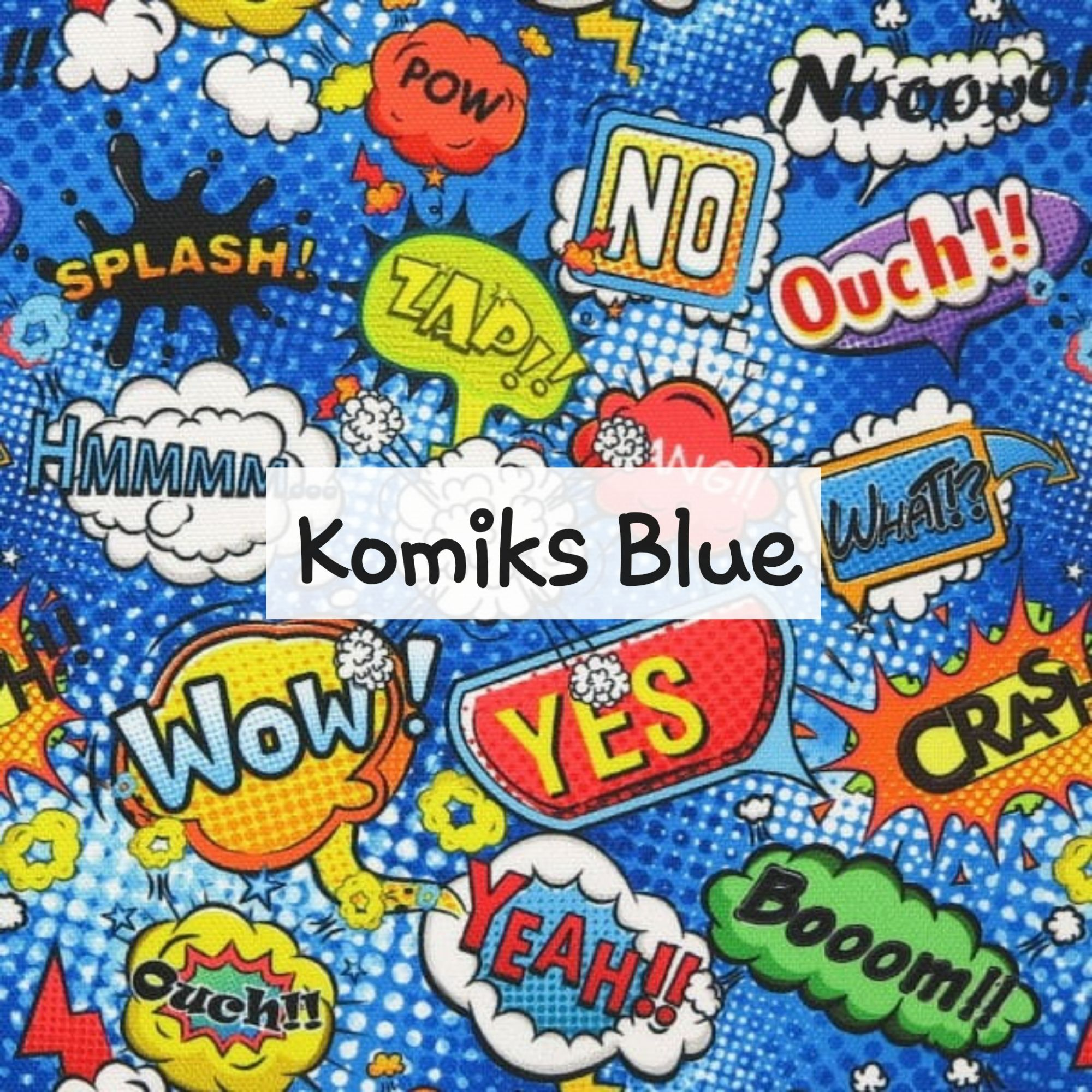 Komiks Blue Waterproof Fabric