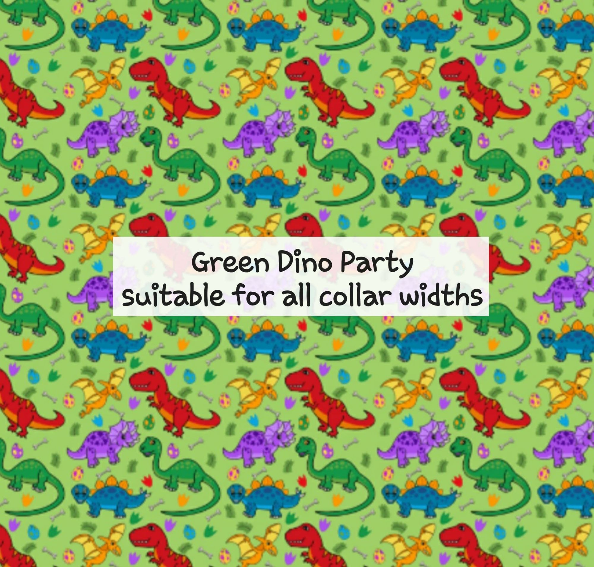 Green Dino Party - Suitable for all collar widths